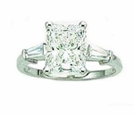2.5 carat Emerald Cut Cubic Zirconia Baguette Solitaire Engagement Ring