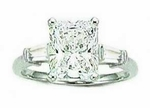 4 carat Emerald Cut Cubic Zirconia Baguette Solitaire Engagement Ring