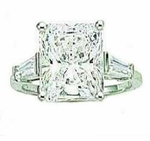 5.5 carat Emerald Cut Cubic Zirconia Baguette Solitaire Engagement Ring