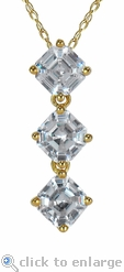 Ashlyn Three Stone Asscher Inspired Pendant in 14K Yellow Gold