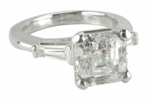 1.5 carat Asscher Cut Inspired Cubic Zirconia Baguette Solitaire Engagement Ring