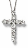 Tiphany Cross Prong Set Round Cubic Zirconia Pendant