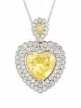 Harlequin Simulated Canary Diamond Heart Cubic Zirconia Halo Pendant