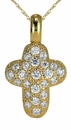 Puffy Pave Cross Pendant