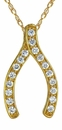 Ziamond Wishing Bone Pendant in 14K Yellow Gold