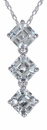 Ashlyn Three Stone Asscher Inspired Pendant in 14K White Gold