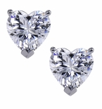 Heart Stud Cubic Zirconia Stud Earrings