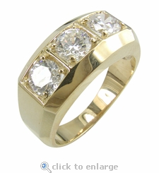 Trio .50 Carat Each Three Stone Round Cubic Zirconia  Mans Ring