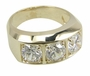 Trio 1 Carat Each Three Stone Round Mans Cubic Zirconia Ring