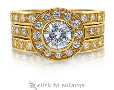 The Demi Bella Three Ring Bridal Set in 14K Yellow Gold
