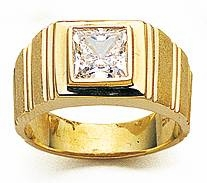 Geometrics Princess Cut Bezel Set Cubic Zirconia Mans Ring
