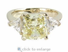 1.5 carats Cushion Cut with Trillions Ring Featuring Ziamond Cubic Zirconia