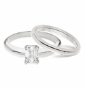 Emerald Cut Classic Solitaires with Matching Band