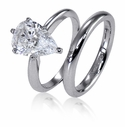 Pear Classic Solitaires with Matching Band Featuring Ziamond Cubic Zirconia
