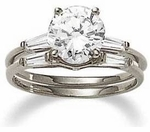 Round Cubic Zirconia Baguette Solitaire With Matching Band