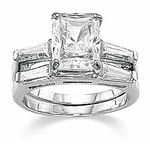 Emerald Cut Baguette Solitaire & Matching Band