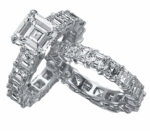 Eternally Asscher Cut 4 Carat Cubic Zirconia Eternity Wedding Set