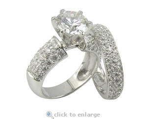 Pave Splendor 1.5 Carat Round Cubic Zirconia Wedding Set