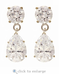 Oprah Style 2 Carat Pear Tear Drop Earrings - Small