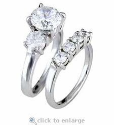 Three Stone Classic Bridal Set Round 1 Carat Cubic Zirconia Solitaire with Matching Band