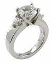 Dianna 2 Carat Round Cubic Zirconia Three Stone Ring and Matching Wedding Band