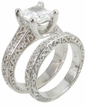 Engraved 1.5 ct. Princess Luccia Bridal Set
