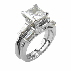 Princess Baguette Solitaire & Matching Band