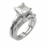 1 Carat Princess Cut Cubic Zirconia Baguette Solitaire with Matching Band Wedding Set