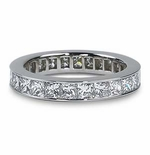 Channel Set Princess Cut Cubic Zirconia Eternity Band - MEDIUM