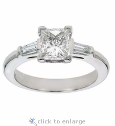 1.5 carat Princess Cut Cubic Zirconia Baguette Solitaire Engagement Ring