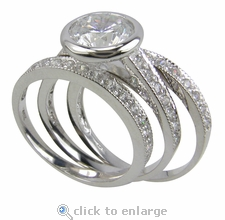 Valencia 2 Carat Bezel Set Round Cubic Zirconia Micro Pave Three Ring Wedding Set