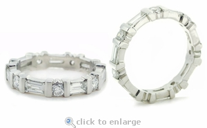 Round Cubic Zirconia Baguette Channel Bar Set Eternity Band