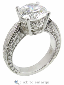 3 ct. Round Engraved Solitaire