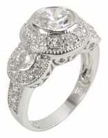 Victorian Three Stone Anniversary Ring Featuring Ziamond Cubic Zirconia