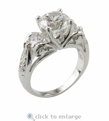 Art Deco Three Stone 2 Carat Round Engraved Antique Estate Style Anniversary Ring