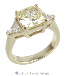 1 carat Cushion Cut with Trillions Ring Featuring Ziamond Cubic Zirconia