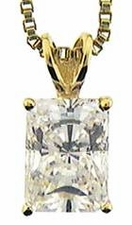 Emerald Cut Cubic Zirconia Basket Set Classic Solitaire Pendants