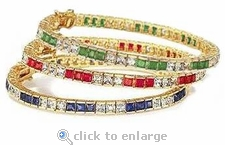 Channel Set Princess Cut Tennis Bracelet Alternating Stones Featuring Ziamond Cubic Zirconia