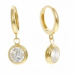 * SOLD OUT * Bezel Hoop Drop Earrings in 14K Yellow Gold