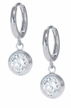 *SOLD OUT* Bezel Hoop Drop Earrings in 14K White Gold