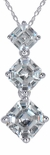 Ashlyn Three Stone Graduated Asscher Inspired Pendant in 14K White Gold