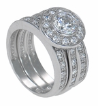 The Demi Bella Three Ring Bridal Set in 14K White Gold