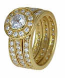 The Bella Eternity Three Ring Bridal Set in 14K Yellow Gold, Size 7