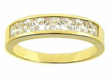 Princess Cut Channel Set Anniversary Band