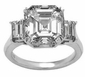 Empress 7 Carat Asscher Inspired Cubic Zirconia Emerald Step Cut Three Stone Solitaire Engagement Ring