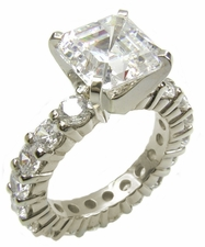 Asscher Cut Cubic Zirconia Eternity Solitaire Engagement Rings