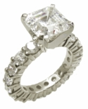 Asscher Inspired 4 Carat Cubic Zirconia Eternity Solitaire Engagement Ring