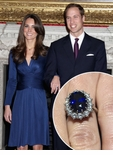 Kate Middleton Man Made Sapphire Oval Halo Cluster Cubic Zirconia Engagement Ring