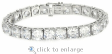 Classic Asscher Cut Inspired Tennis Bracelet 2.5ct Version Featuring Ziamond Cubic Zirconia