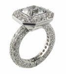 Celestial Bezel Set Asscher Cut Cubic Zirconia Halo Pave Set Solitaire Engagement Ring